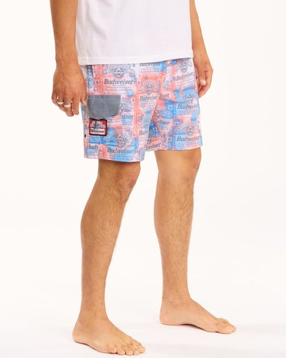 """6 Budweiser Insignia Layback Bottle Opener Boardshorts 17"""" Red ABYBS00194 Billabong"""