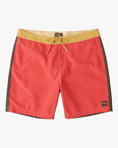 """2 Wrangler Icons Lo Tides Boardshorts 17"""" Red ABYBS00198 Billabong"""