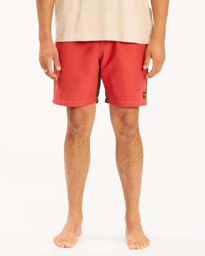 """6 Wrangler Icons Lo Tides Boardshorts 17"""" Red ABYBS00198 Billabong"""