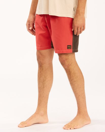 """7 Wrangler Icons Lo Tides Boardshorts 17"""" Red ABYBS00198 Billabong"""