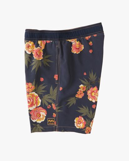 "2 Wrangler Rose Garden Layback Boardshorts 17"" Blue ABYBS00200 Billabong"