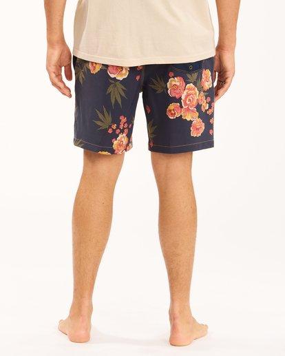 "6 Wrangler Rose Garden Layback Boardshorts 17"" Blue ABYBS00200 Billabong"