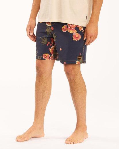 "4 Wrangler Rose Garden Layback Boardshorts 17"" Blue ABYBS00200 Billabong"