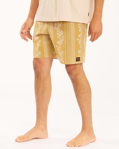 """6 Wrangler Other Side Stripe Lo Tides Boardshorts 17"""" Beige ABYBS00201 Billabong"""
