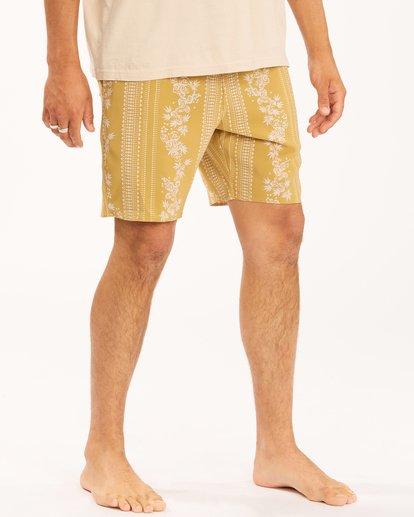 """7 Wrangler Other Side Stripe Lo Tides Boardshorts 17"""" Beige ABYBS00201 Billabong"""