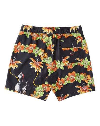 "7 Grinch Aloha Layback Boardshorts 17"" Black ABYBS00203 Billabong"