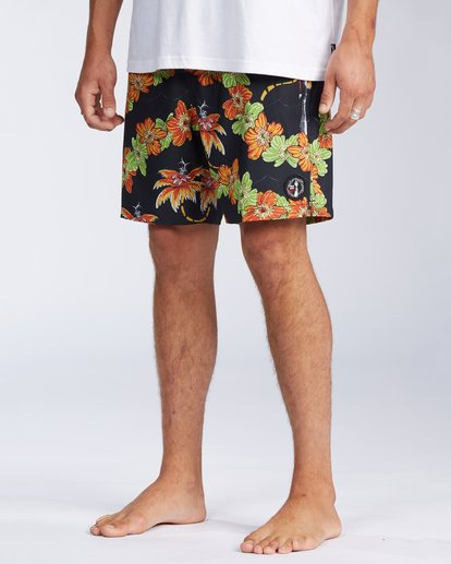 "3 Grinch Aloha Layback Boardshorts 17"" Black ABYBS00203 Billabong"