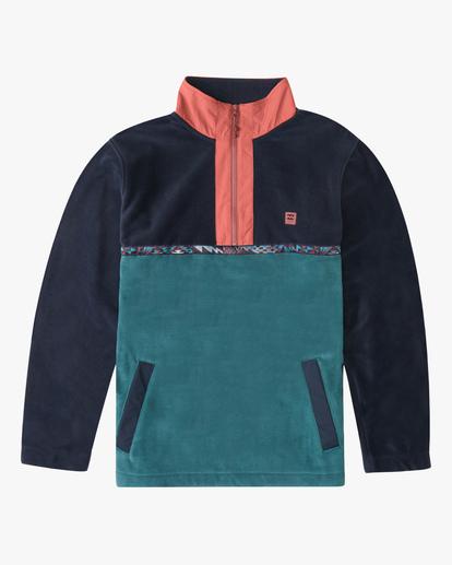 3 A/Div Boundary Lite Half-Zip Mock Neck Fleece Blue ABYFT00187 Billabong