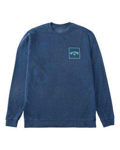4 Stacked Wave Washed Crew Neck Sweatshirt Blue ABYFT00198 Billabong