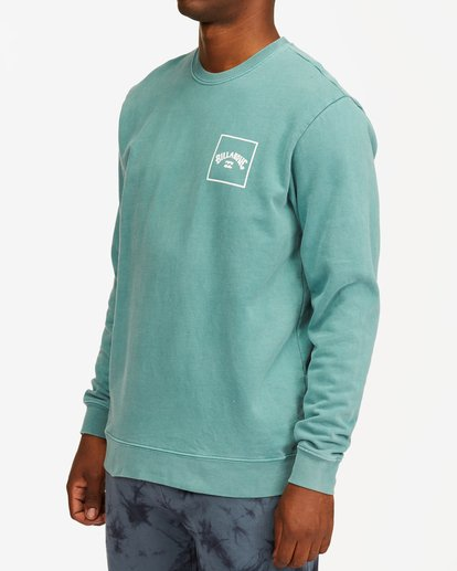 3 Stacked Wave Washed Crew Neck Sweatshirt Blue ABYFT00198 Billabong