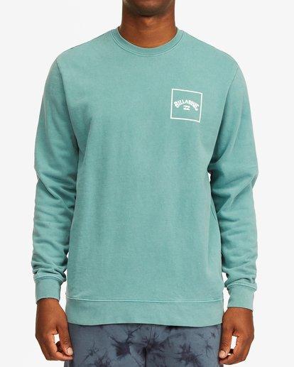 0 Stacked Wave Washed Crew Neck Sweatshirt Blue ABYFT00198 Billabong