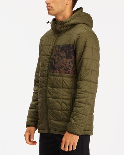 1 A/Div Journey Hooded Zip-Up Puffer Jacket Brown ABYJK00116 Billabong