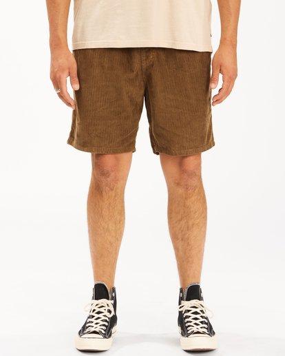 2 Wrangler Bowie Layback Cord Shorts Brown ABYWS00151 Billabong