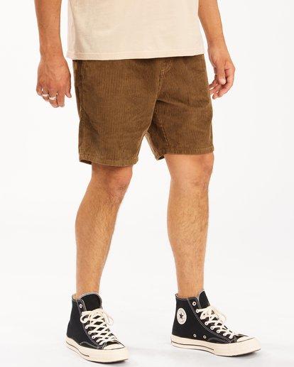 4 Wrangler Bowie Layback Cord Shorts Brown ABYWS00151 Billabong