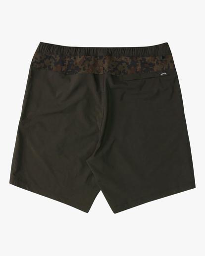 """1 A/Div Surftrek Elastic Waist Shorts 17"""" Brown ABYWS00155 Billabong"""