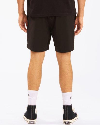 """7 A/Div Surftrek Elastic Waist Shorts 17"""" Black ABYWS00155 Billabong"""