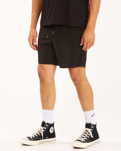 """5 A/Div Surftrek Elastic Waist Shorts 17"""" Black ABYWS00155 Billabong"""