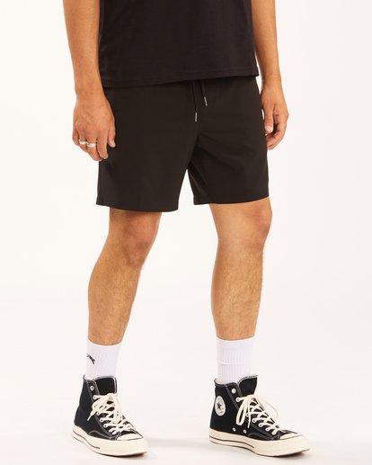 """6 A/Div Surftrek Elastic Waist Shorts 17"""" Black ABYWS00155 Billabong"""