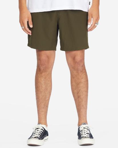 """4 A/Div Surftrek Elastic Waist Shorts 17"""" Brown ABYWS00155 Billabong"""
