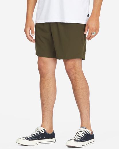 """5 A/Div Surftrek Elastic Waist Shorts 17"""" Brown ABYWS00155 Billabong"""
