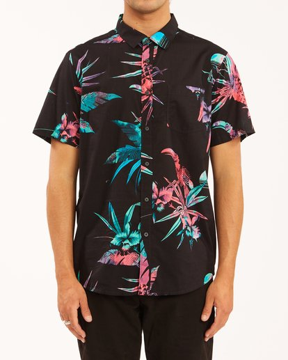 0 Sundays Floral Short Sleeve Shirt Blue ABYWT00113 Billabong