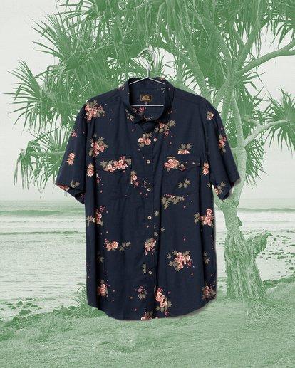 0 Wrangler Rose Garden Short Sleeve Shirt Blue ABYWT00136 Billabong