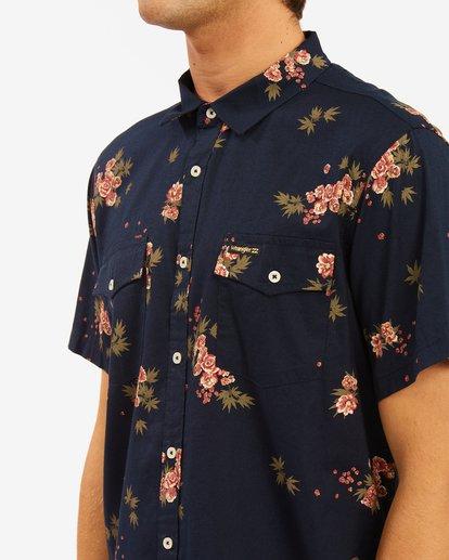 4 Wrangler Rose Garden Short Sleeve Shirt Blue ABYWT00136 Billabong