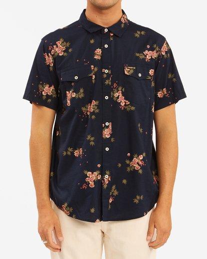 1 Wrangler Rose Garden Short Sleeve Shirt Blue ABYWT00136 Billabong