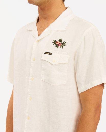 6 Wrangler Dakota Hemp Vacay Short Sleeve Shirt White ABYWT00137 Billabong