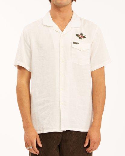 2 Wrangler Dakota Hemp Vacay Short Sleeve Shirt White ABYWT00137 Billabong