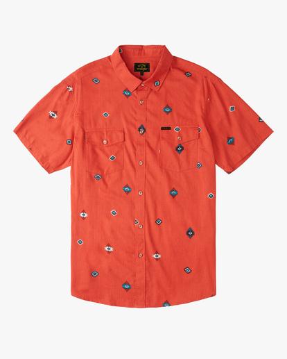 4 Wrangler Distant Land Short Sleeve Shirt Red ABYWT00139 Billabong