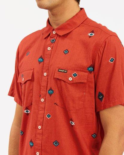 3 Wrangler Distant Land Short Sleeve Shirt Red ABYWT00139 Billabong