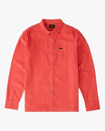 6 Wrangler Bowie Cord Long Sleeve Shirt Red ABYWT00145 Billabong