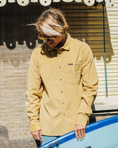 0 Wrangler Bowie Cord Long Sleeve Shirt Yellow ABYWT00145 Billabong