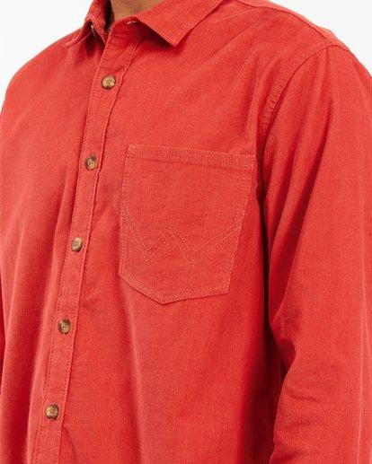 4 Wrangler Bowie Cord Long Sleeve Shirt Red ABYWT00145 Billabong