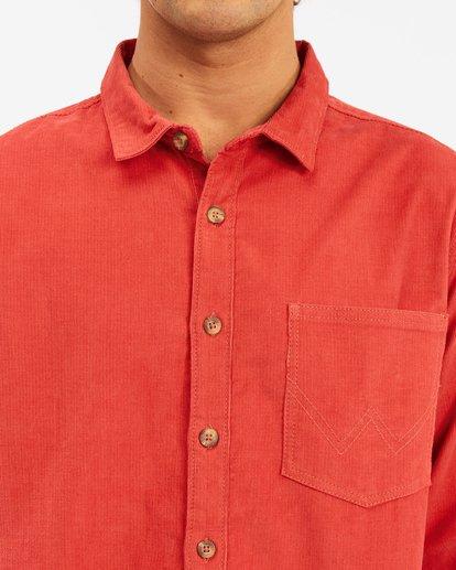 5 Wrangler Bowie Cord Long Sleeve Shirt Red ABYWT00145 Billabong