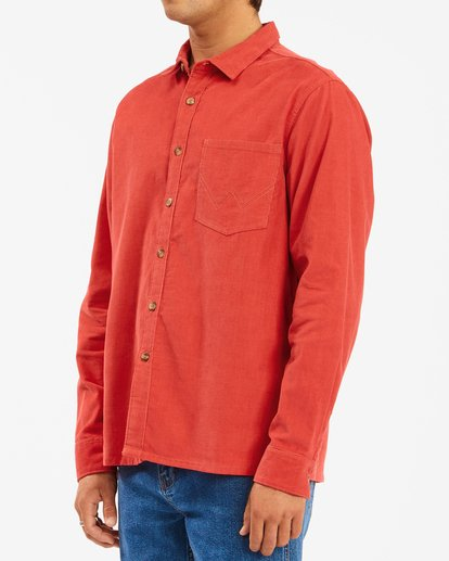 2 Wrangler Bowie Cord Long Sleeve Shirt Red ABYWT00145 Billabong