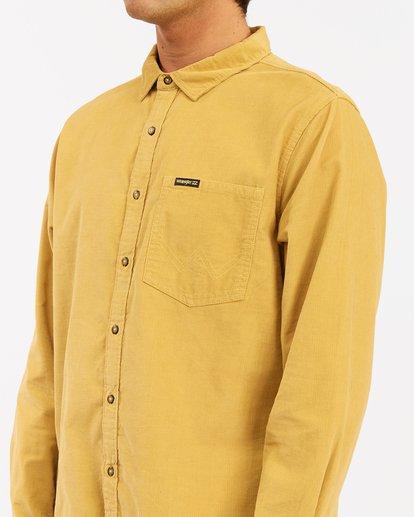 4 Wrangler Bowie Cord Long Sleeve Shirt Yellow ABYWT00145 Billabong