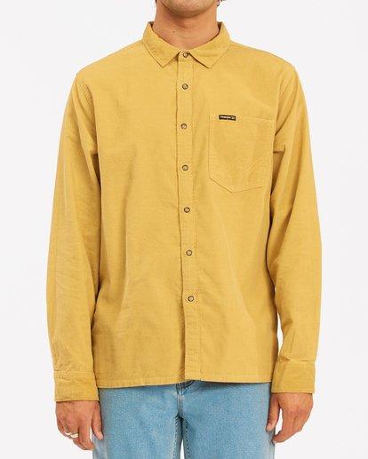 1 Wrangler Bowie Cord Long Sleeve Shirt Yellow ABYWT00145 Billabong