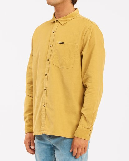 2 Wrangler Bowie Cord Long Sleeve Shirt Yellow ABYWT00145 Billabong
