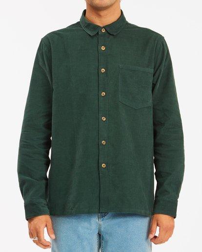 1 Wrangler Bowie Cord Long Sleeve Shirt Green ABYWT00145 Billabong