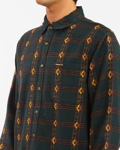 3 Wrangler Knox Jacquard Plaid Flannel Shirt Green ABYWT00147 Billabong