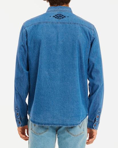 2 Wrangler Morgan Denim Long Sleeve Shirt Blue ABYWT00153 Billabong