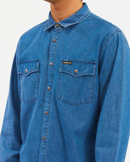 4 Wrangler Morgan Denim Long Sleeve Shirt Blue ABYWT00153 Billabong