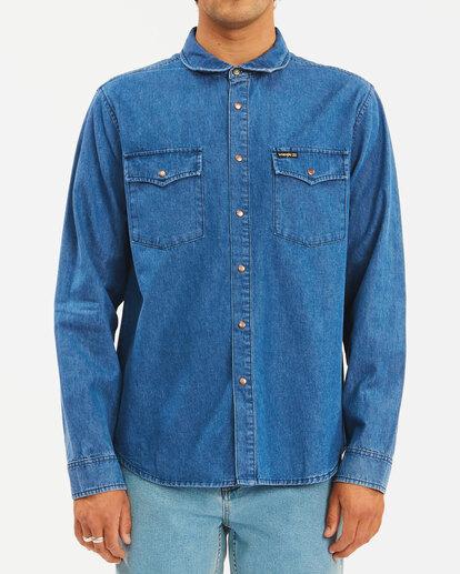 0 Wrangler Morgan Denim Long Sleeve Shirt Blue ABYWT00153 Billabong