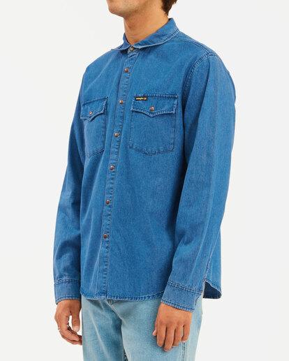 1 Wrangler Morgan Denim Long Sleeve Shirt Blue ABYWT00153 Billabong