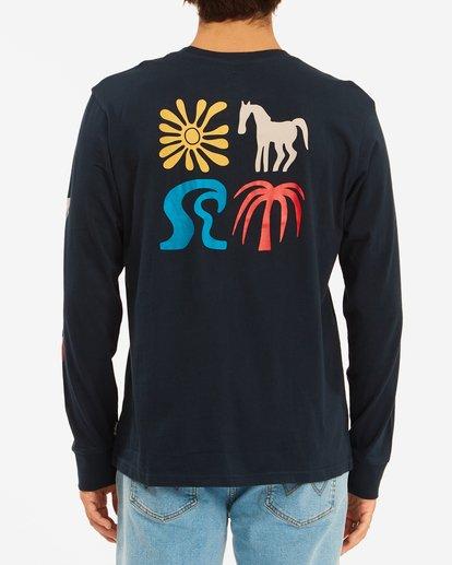 3 Wrangler Lands Long Sleeve T-Shirt Blue ABYZT00580 Billabong