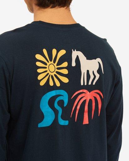 4 Wrangler Lands Long Sleeve T-Shirt Blue ABYZT00580 Billabong