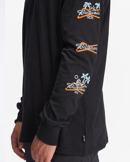 3 Budweiser Stacked Neon Long Sleeve T-Shirt Black ABYZT01022 Billabong