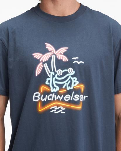 3 Budweiser Frog Neon Short Sleeve T-Shirt Blue ABYZT01025 Billabong